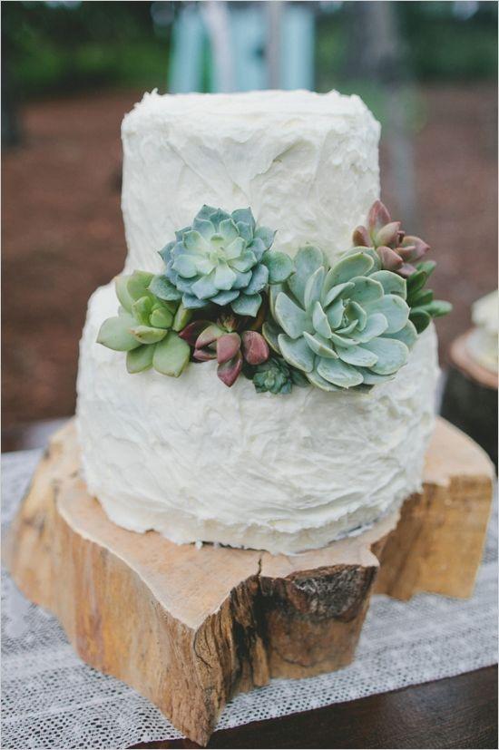 simple buttercream succulent wedding cake
