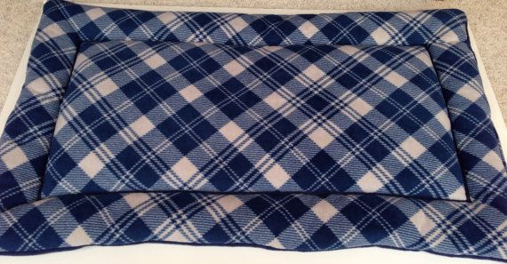 Blue Gray Plaid Extra Large Dog Bed Dog Crate Pad by ComfyPetPads #blueplaid #plaid #plaidgifts #dogs #ilovedogs #greatgiftsfordogs