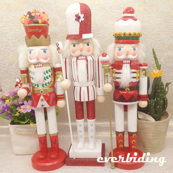 "3pcs 15"" / 38cm Large Nutcracker Wood Candy Cake Style King Xmas Home Ornament 