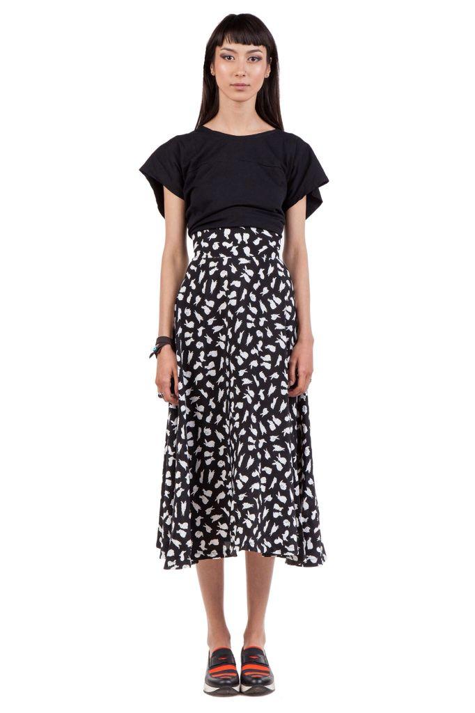 Bunny Midi Skirt All Black Short Tee www.white-elephant.ro