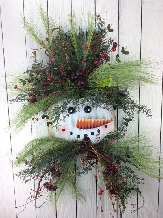 Snowman Wreath, Winter Snowman Wreath, Snowman Door Hanger, Winter swag, winter Wreath, Snowman Door Hanger by Keleas on Etsy https://www.etsy.com/listing/262200795/snowman-wreath-winter-snowman-wreath
