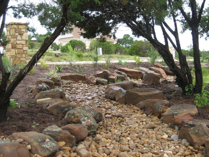 Austin Lawn Drainage Dry Creek Beds Landscape Ideas