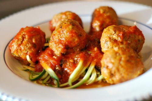 Might have to try this! http://nomnompaleo.com/post/5695132949/zucchini-spaghetti-meatballs