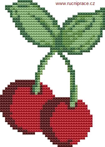 Cherries, free cross stitch patterns and charts - www.free-cross-stitch.rucniprace.cz