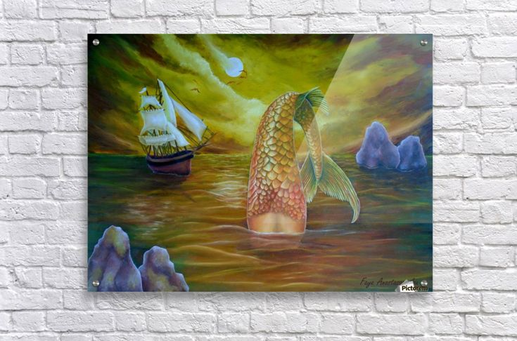 Acrylic Print, for sale, mermaid, ocean, scene, mythical, mythological, creature, seascape, fish, tail, water, sailboat, nautical, marine, legendary, night, moonlight, atmospheric, moody, fantasy, imagination, wild,vivid,colorful,golden,beautiful, cool, imaginary realism, figurative, painting, fine, oil, art, images, decor, items, ideas, pictorem