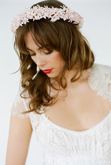 Brides: The Prettiest Wedding Hairstyles with Flower Crowns| A Blush Freesia Flower Crown | Photo by Laura Murray