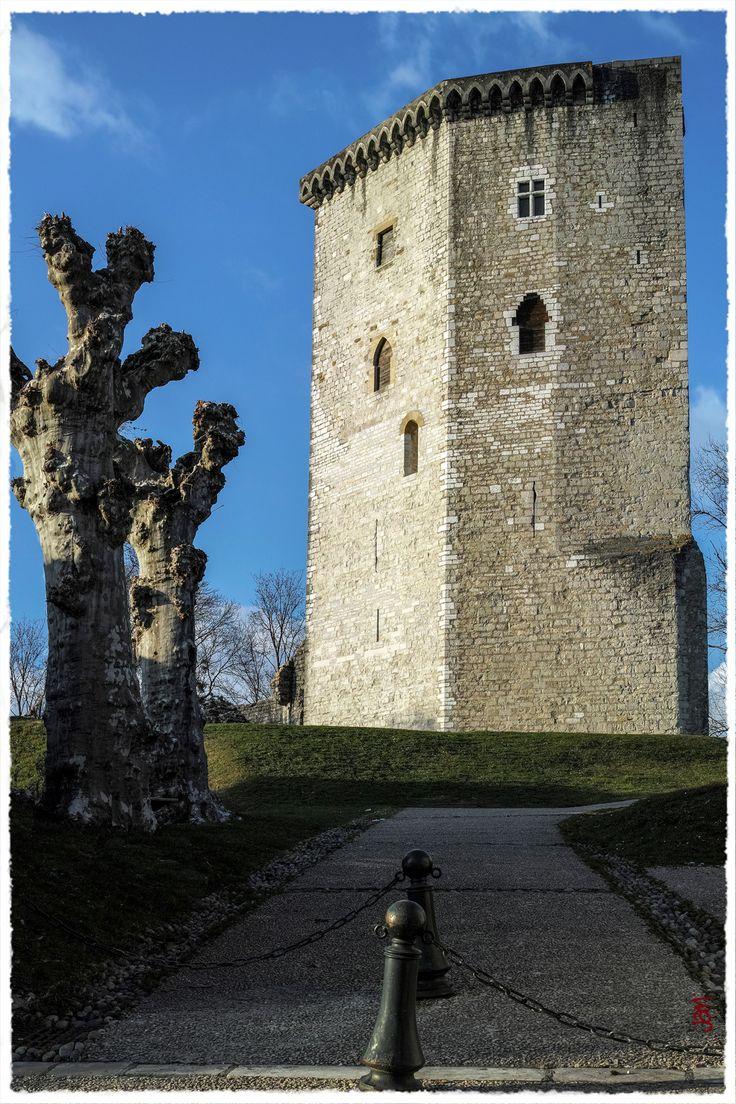 La tour Moncade, à Orthez. Ce que vous voyez est le donjon du château de Gaston Phoebus. Les murailles ont été détruites depuis longtemps pour servir à la construction de nombreuses maisons dans la ville.