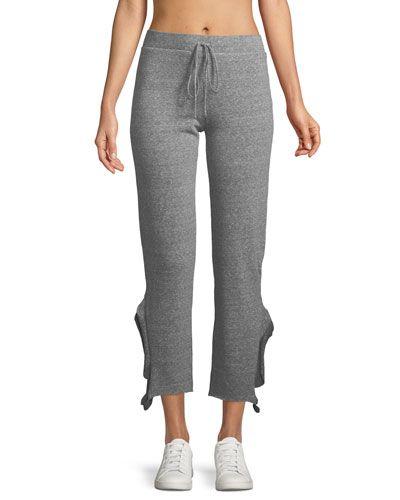 Crop Ruffle Pant In Gray. Culture Pantalon Gris Jabot. - Size M (also In L,s,xs) Lanston - Taille M (également À L, S, Xs) Lanston