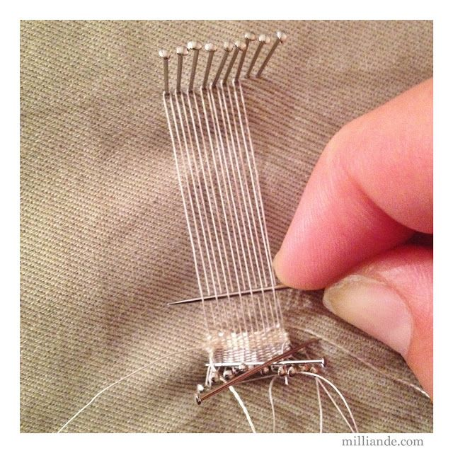 """Pin Weaving: Mini Weaving Loom... The web-link seems to be more """"concept art""""-focused and less practical/DIY-tutorial-focused, but you can pretty much figure out how to do it from this photo."""