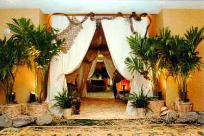 african party decoration  | Venue was decorated and tented to emulate an African Safari Tent...
