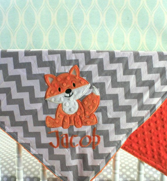 Fox baby Blanket - Fox applique and Name Included - You pick Fabrics and Colors on Etsy, $47.00