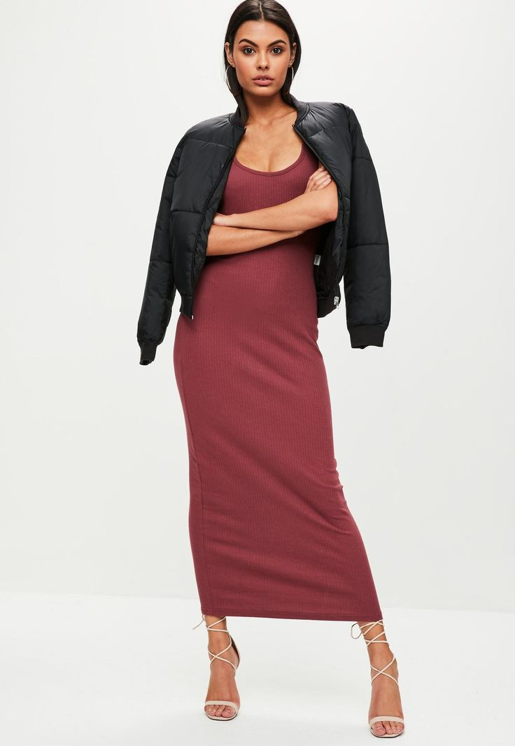 Missguided - Burgundy Ribbed Strappy Maxi Dress