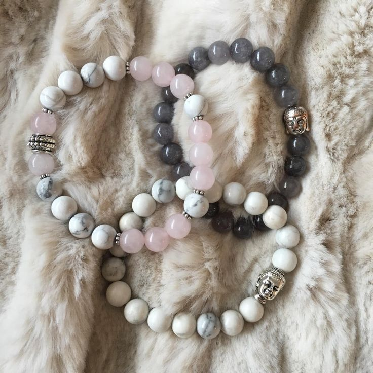 Semiprecious gemstones beaded bracelets   White Howlite & Rose Quartz   White Howlite & Buddha   Dyed Jade & Buddha