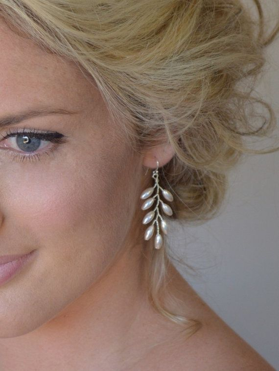 Grecian Fern Leaf Earrings, Pearl Bridal Earrings, Wedding Accessories, Bridal…