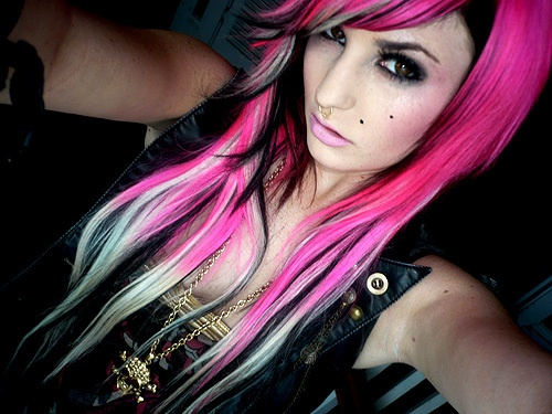 Pinks Hairstyles: Hot Pink, Black, And White-blonde Hair