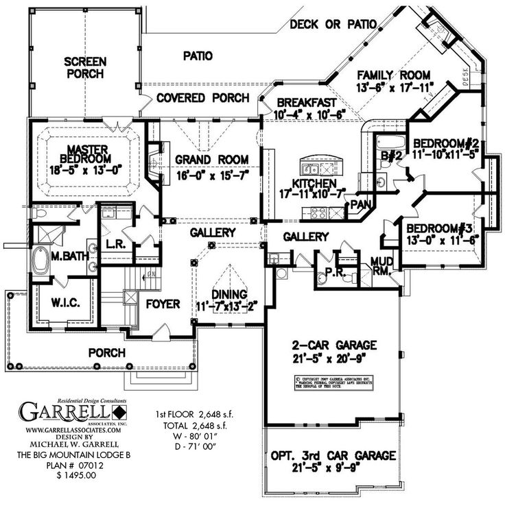 Big Mountain Lodge B House Plan # 07012, 1st Floor Plan, Ranch Style House Part 89