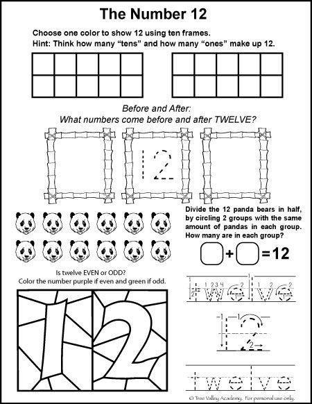 Free math printables for Kindergarten or Grade 1. A number study of 12, number bonds, before and after, ten frames, odd or even, and writing twelve in words.