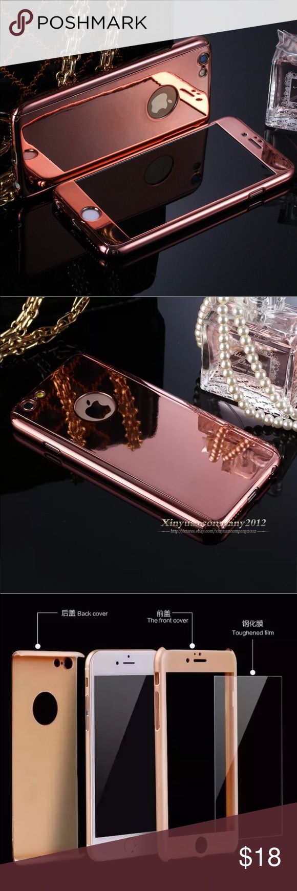 "iPhone 6/6s/7 plus/5.5"" rose gold mirror case Full protection hard acrylic case. Tempered glass screen protector included. Price is firm. Accessories Phone Cases"