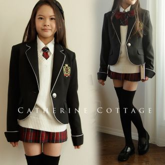 Junior girls girls graduation suit ガールズスーツ knit best with 6 point set black Tartan red 140 / 150 / 160 / 165 graduation suit girls formal suits kids clothes kids