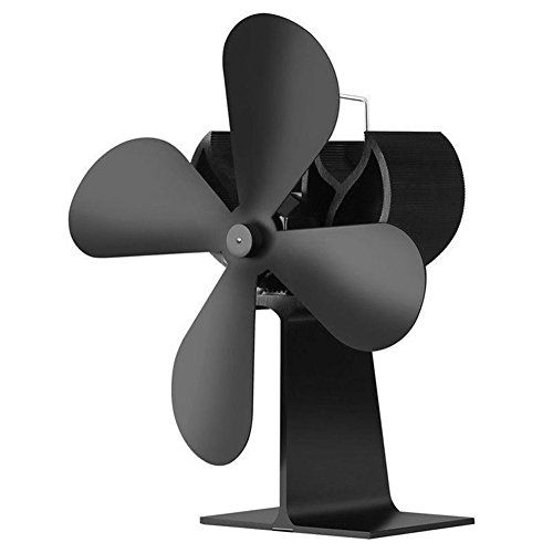 Maikerry Wood Stove Fan Fireplace Fan Heat Powered Stove Fan Eco-friendly Stove Fan Black.