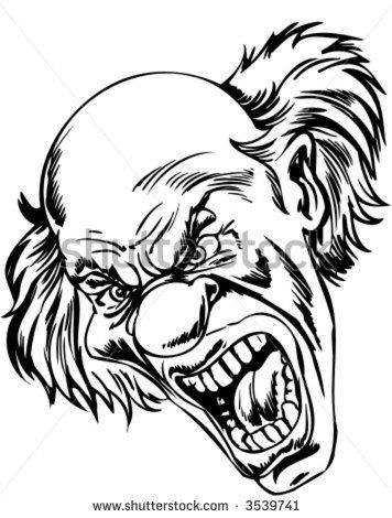 Image result for scary clown drawing