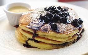 Pancakes (personal favourite). You can eat it with maple syrup, blueberries, cream, strawberries... Delicious!