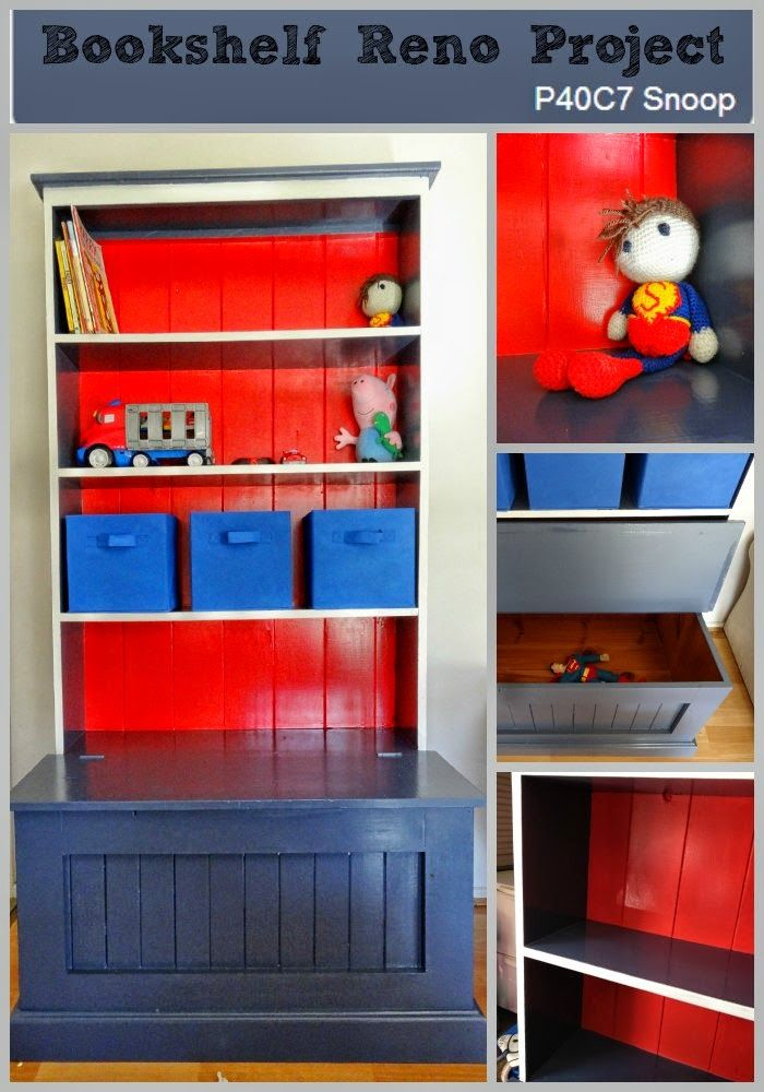 Red, Navy, and White Thrifted Bookshelves Upcycled