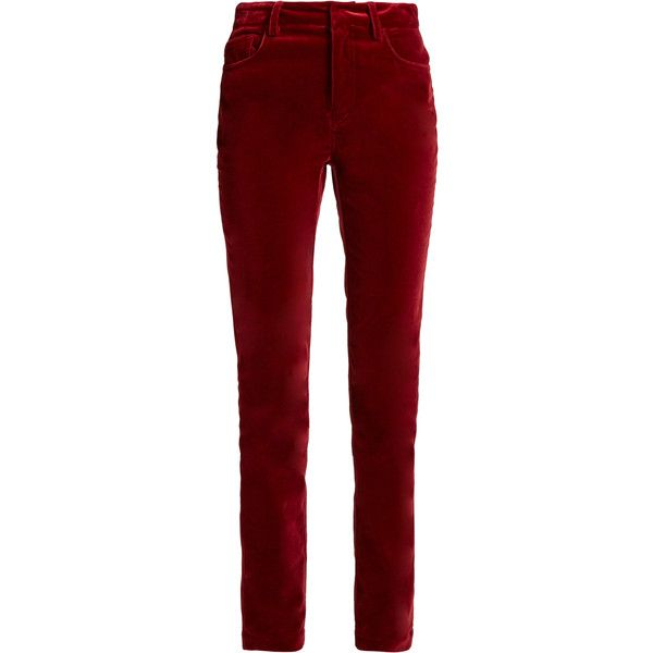Dolce & Gabbana Slim-leg cotton-blend velvet trousers ($545) ❤ liked on Polyvore featuring pants, capris, trousers, burgundy, cocktail pants, red crop pants, slim cropped pants, slim pants and burgundy pants