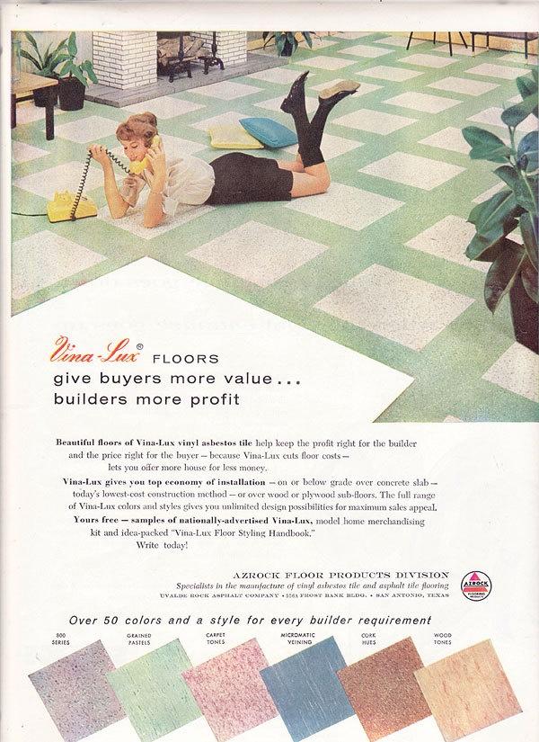 1950s ad vina lux azrock floor tile midcentury modern for 1960s floor tiles
