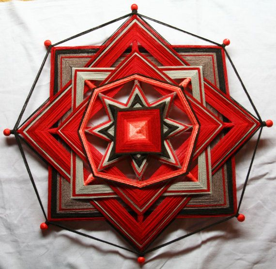 Large Red Mandala God's Eye by PsyMagic on Etsy, €75.00