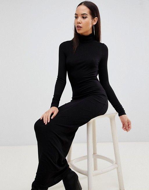 69974dbe762 DESIGN Tall high neck rib maxi dress with long sleeves