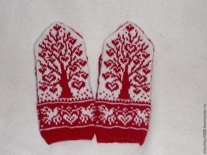 "Варежки, митенки, перчатки ручной работы. Ярмарка Мастеров - ручная работа Варежки ""Дерево любви"". Handmade."