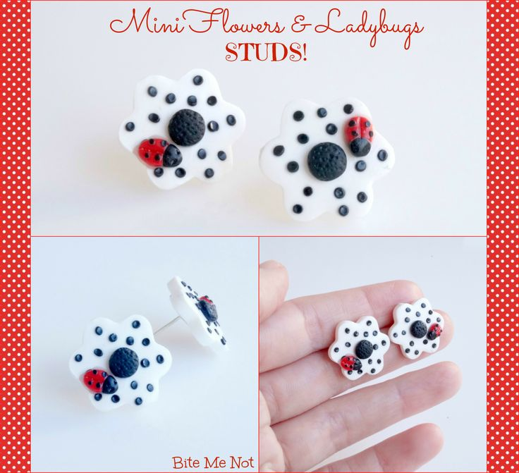 Daisy with ladybug -Silver plated stud earrings!  -White daisy with black polka dots and a cute ladybag on it!