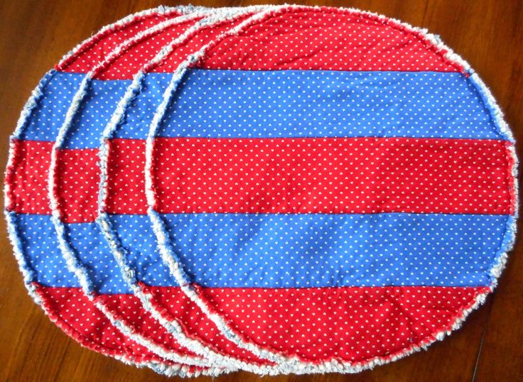 Set of 4 Crazy Round Red and Blue Placemats by RevisionsDesigns on Etsy