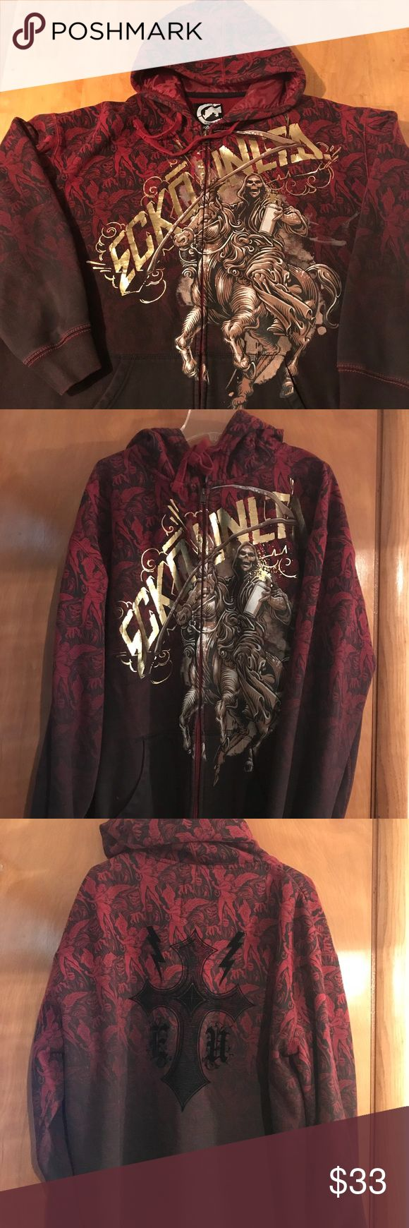 Ecko Hoodie Men's Ecko Unltd Hoodie. 80% Cotton 20% Polyester. Burgundy and black. Size 2XL. Lightly worn. Great graphic detail. Son took to camp so last name is written on tag, otherwise it's in perfect condition.   ⭐️ Non Smoking Home ⭐️ No Trades Ecko Unlimited Shirts Sweatshirts & Hoodies
