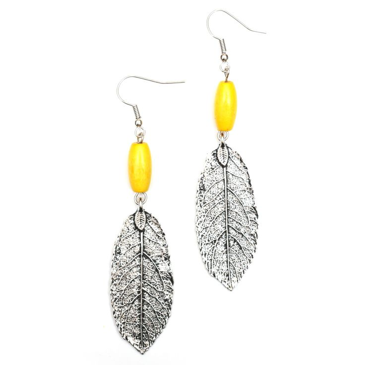 Yellow wooden bead with antique silver look leaf drop earrings