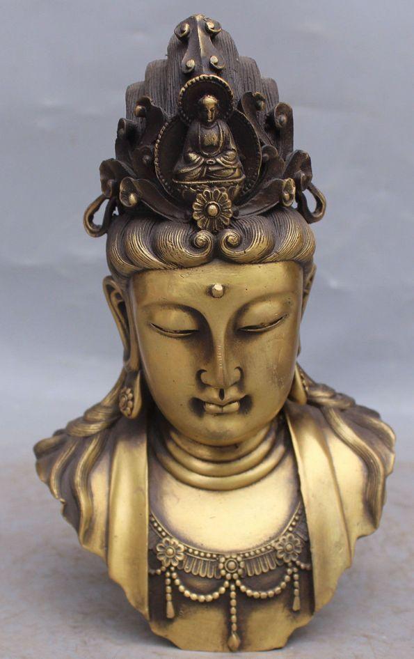 Chinese Buddhism Bronze Brass Kwan-yin Guanyin Sakyamuni Buddha Head Statue