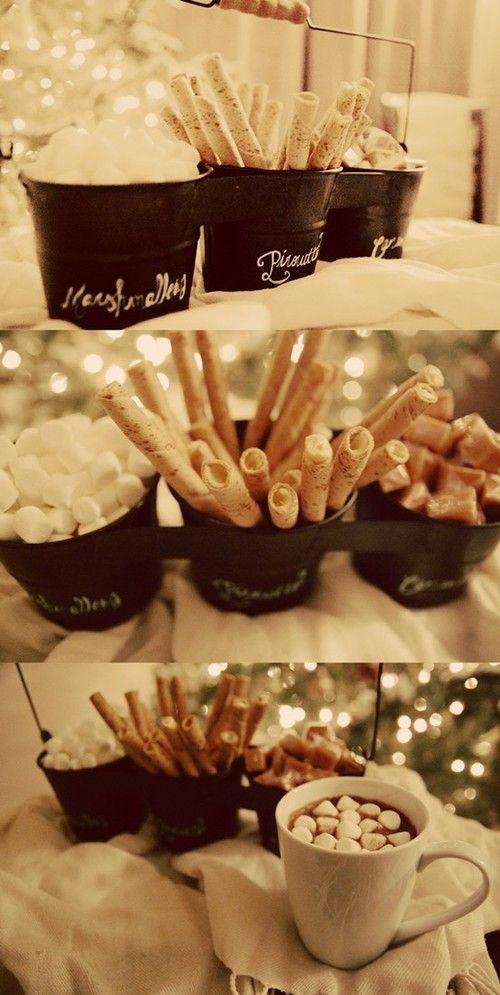 Hot chocolate bar? Uhm yes please! Such a cute idea for a winter wedding