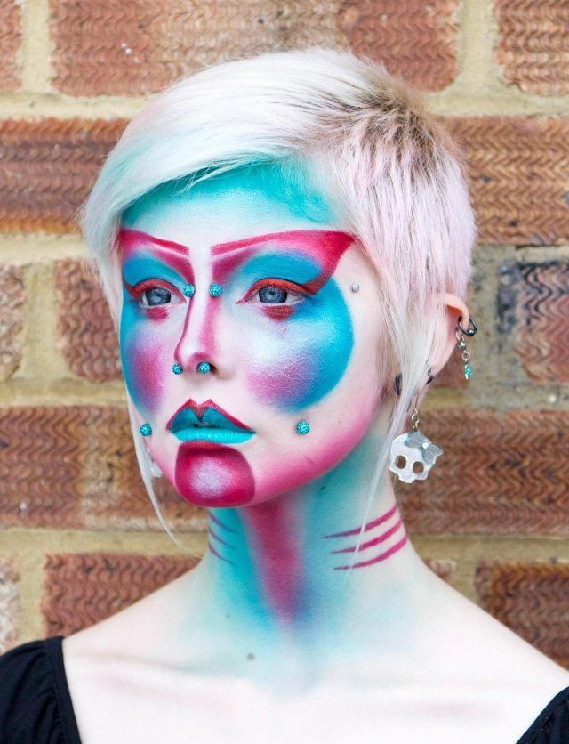 gruseliges make-up mit piercings-neonfarben-halloween bilder