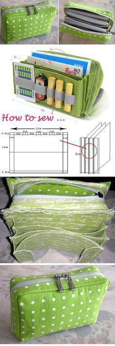 Multi-functional Bag / Bankbook Pouch. Sewing Pattern and Tutorial http://www.handmadiya.com/2016/02/multi-functional-bag-bankbook-pouch.html