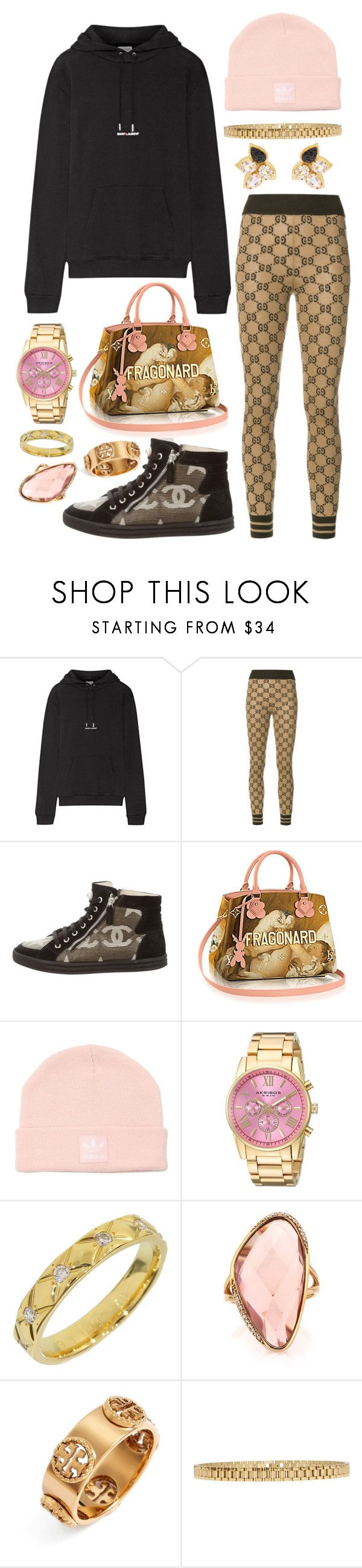 """""""3452"""" by lexi96z ❤ liked on Polyvore featuring Yves Saint Laurent, Gucci, Chanel, adidas Originals, Akribos XXIV, Mark Broumand, Tory Burch, AMBUSH and Carol Kauffmann"""