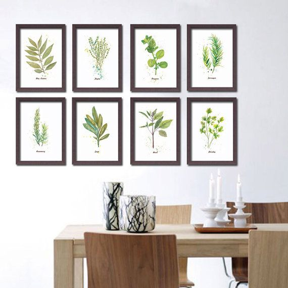 Set of 8 Herb Prints. A5 (5x7 inch) Art Print from my original watercolor painting. Home or kitchen wall decor. Gardening art. Food Print