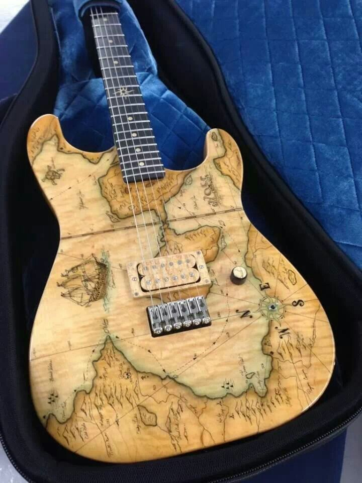 Thorn Guitars with Old World Sea Chart style wood staining. RESEARCH #DdO:) - INSTRUMENTS FOR JOY - https://www.pinterest.com/DianaDeeOsborne/instruments-for-joy/ -Thorn and T-logo are registered tradmarks of Ron Thorn / Thorn Custom Inlay 2014. Specializes in high end, high quality solid & semi-solid / semi hollow body #electric #guitar designs in DeLuxe, SoCal C/S, G/T, S/S, and R/S models. Other special projects include #Racer 67 Series.