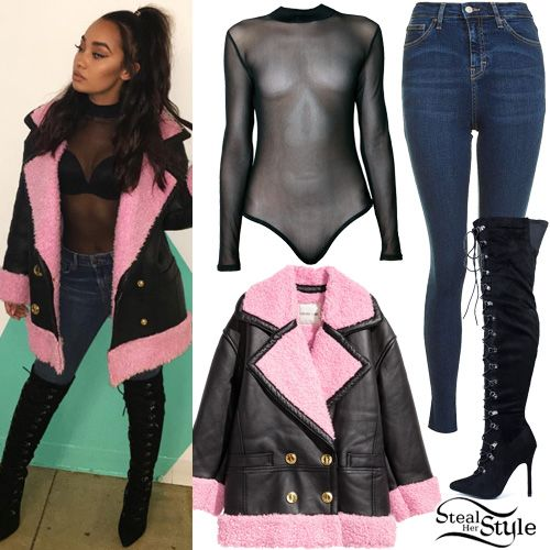Leigh-Anne Pinnock posted a picture on instagram yesterday wearing a Kenzo x H&M Pile-Lined Leather Jacket ($399.00), Dolls Kill The Way It Goes Mesh Bodysuit ($38.00), Topshop Moto Indigo Jamie Jeans ($70.00) and LaModa Run To You Lace-Up Thigh-High Boots ($50.99).