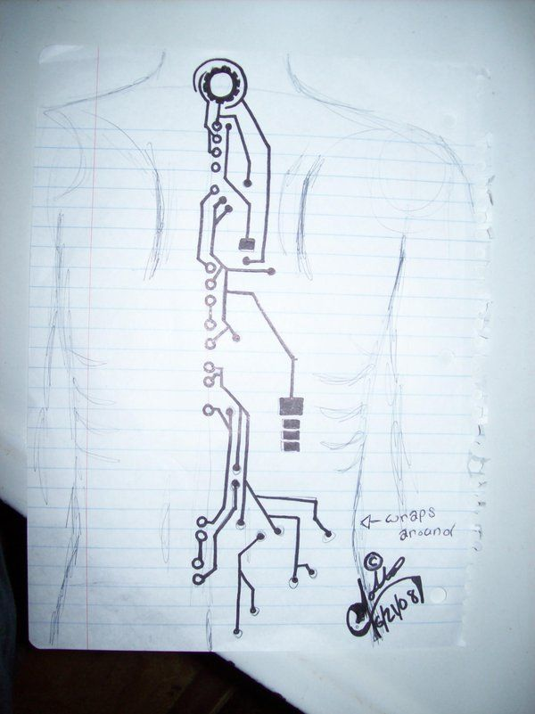 Circuit Board Tattoo Designs: Circuitry Spine Tattoo (note: Would Definitely Change This