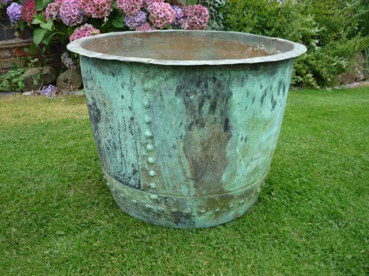 Great Large Outdoor Flower Pots | FOR SALE : LARGE ANTIQUE VICTORIAN COPPER  GARDEN PLANT POT