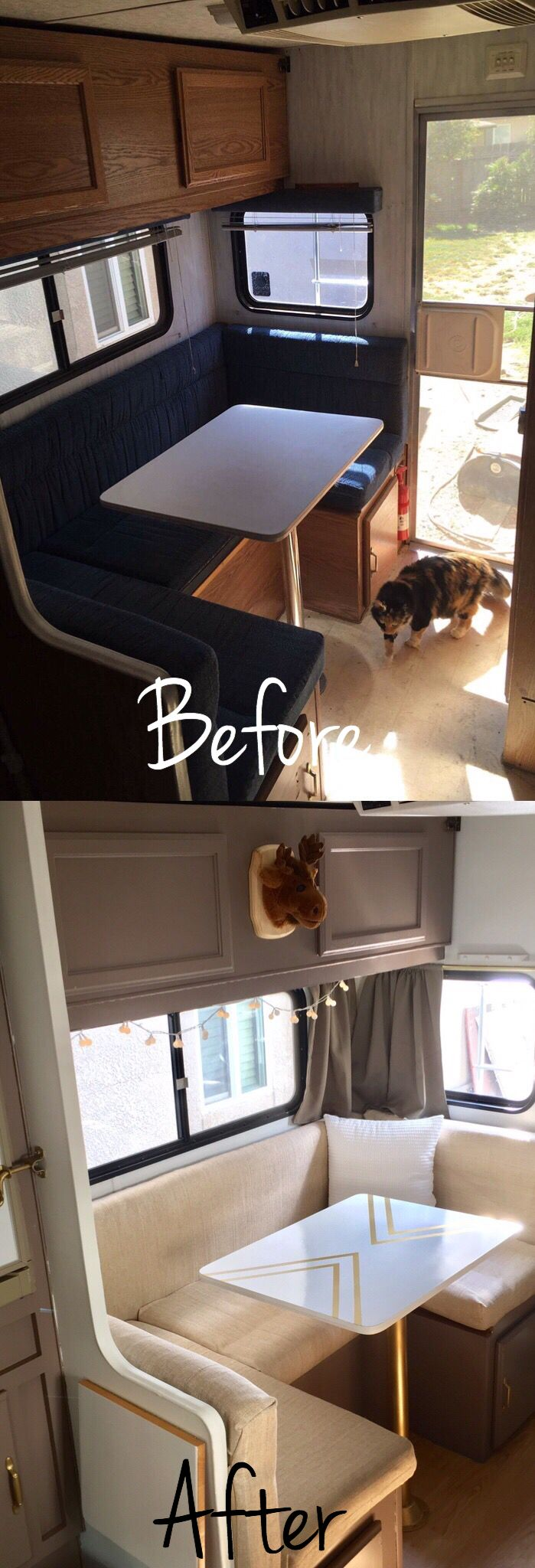 Camper window treatments - Truck Camper Trailer Remodel Before And After Insta_sara