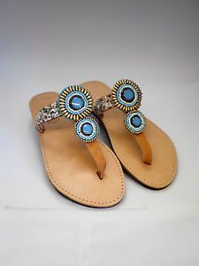 Hand made Genuine leather sandals UK size 6 with blue ethnic decor and white stones decor.