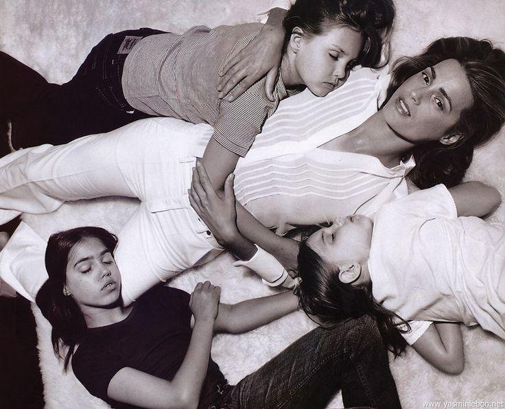 Yasmin Le Bon 1990 editorial | with husband Simon, daughters Amber, Saffron & Tallulah