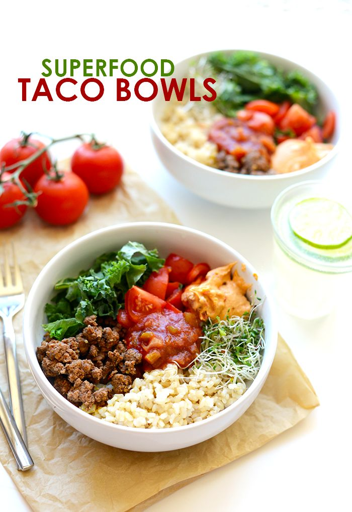This is meal prep at its finest! Prep everything for these delicious superfood taco bowls at the beginning of the week to have a healthy fulfilling meal all week long!